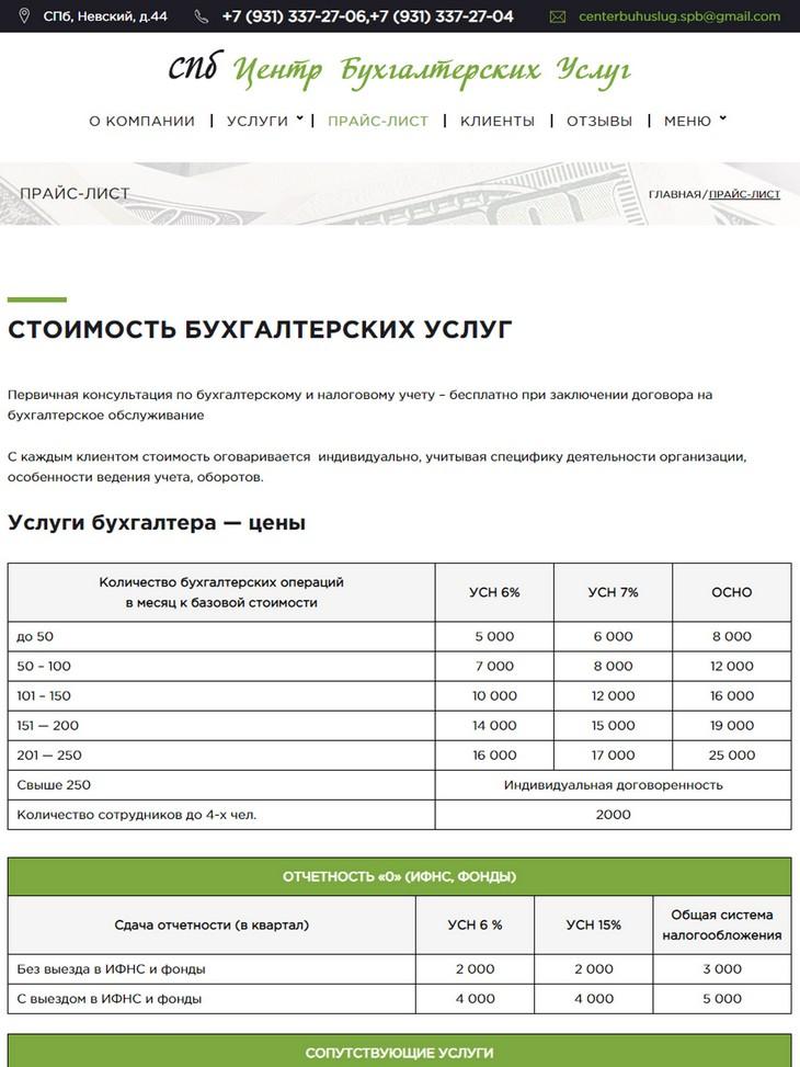 планшетная версия сайта http://centerbuhuslugspb.ru/